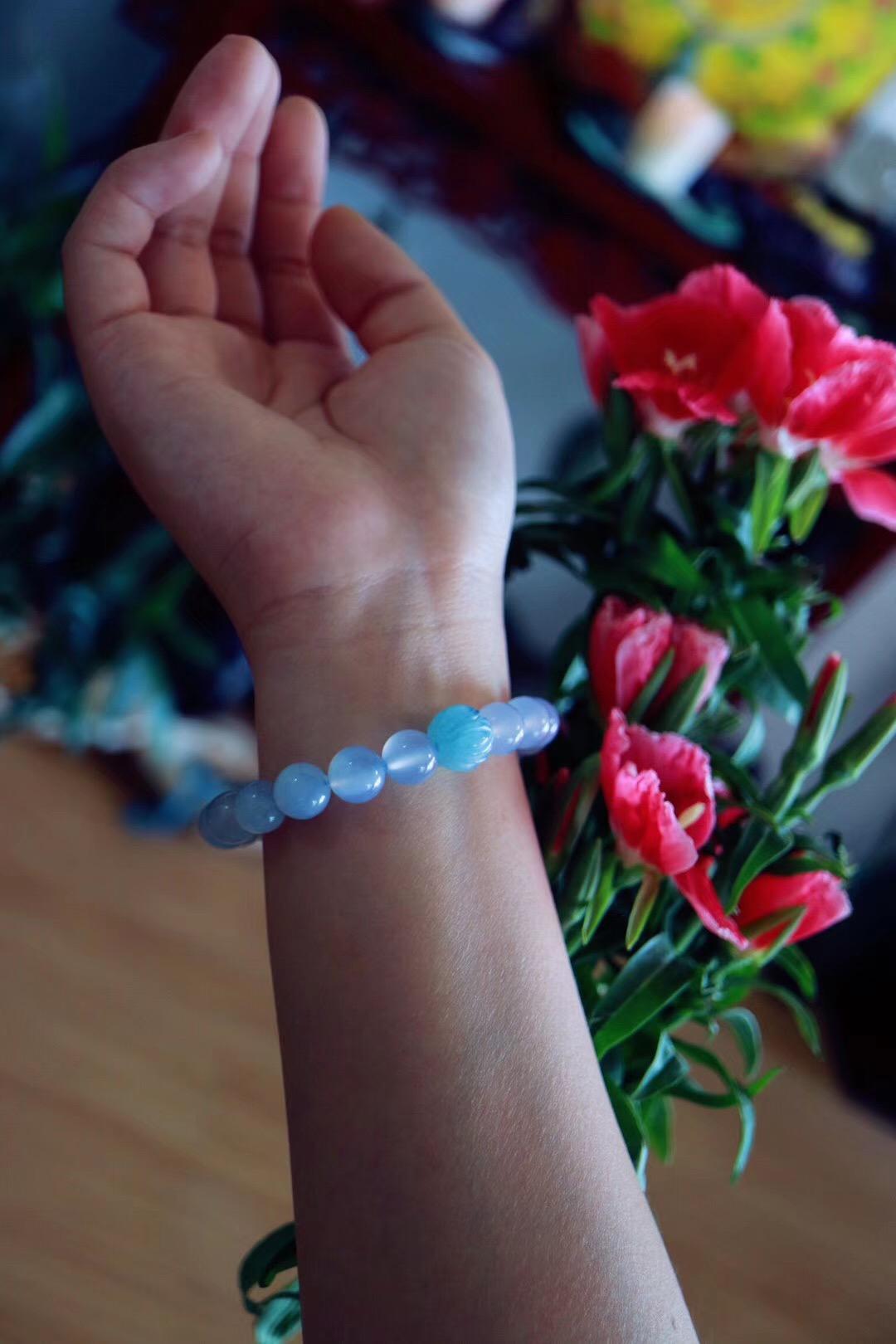 【菩心 | 蓝玉髓】蓝玉髓实力补水,配上一颗海蓝宝莲花珠效果更佳-菩心晶舍