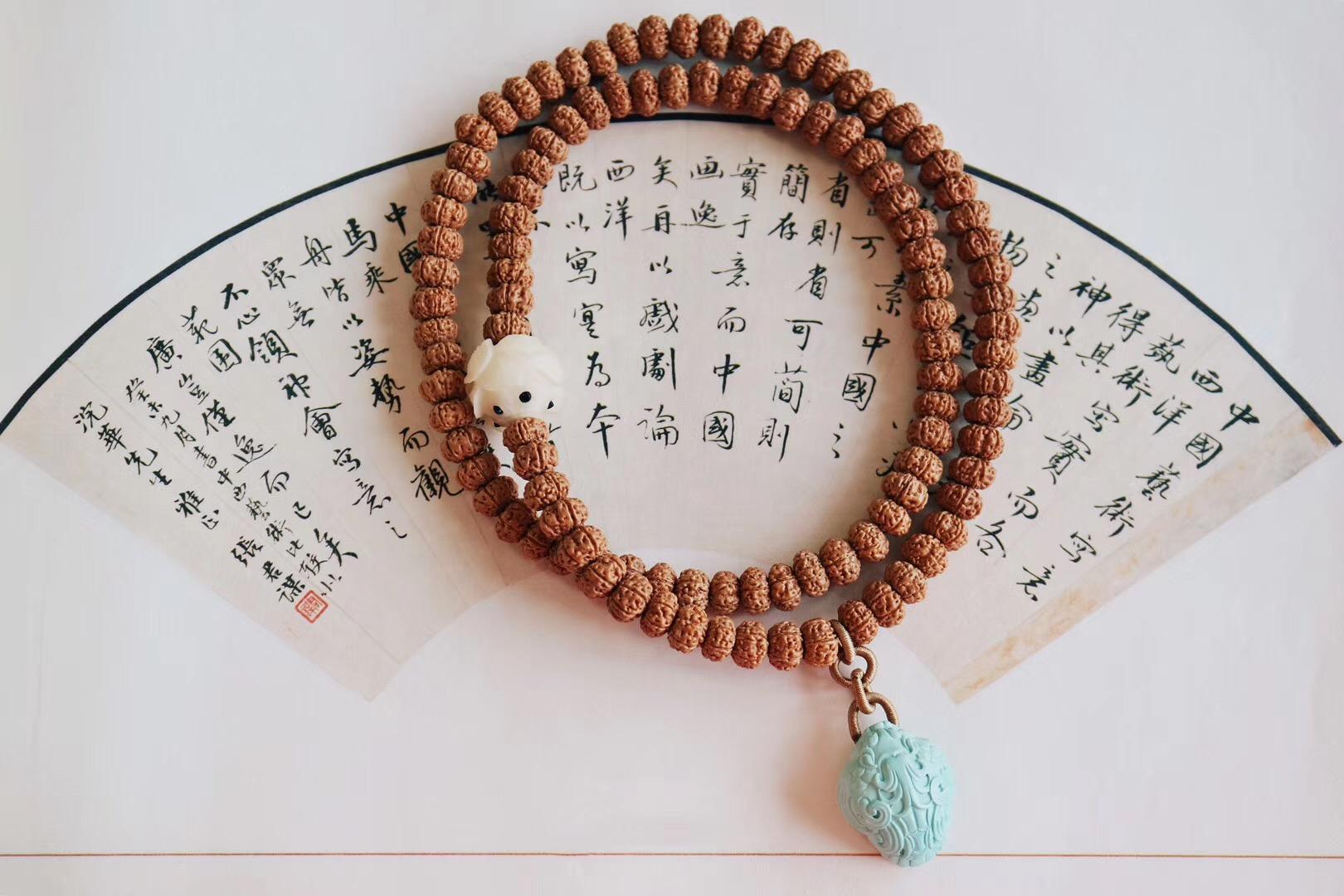 菩心晶舍-收藏级金刚菩提、原矿绿松石-古法雕刻貔貅-菩心晶舍