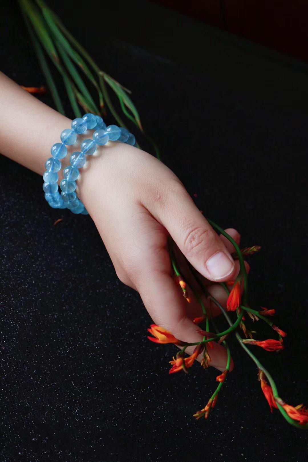 【菩心   海蓝宝】治愈系的两条清澈蔚蓝海蓝宝,就是这个调调!!-菩心晶舍