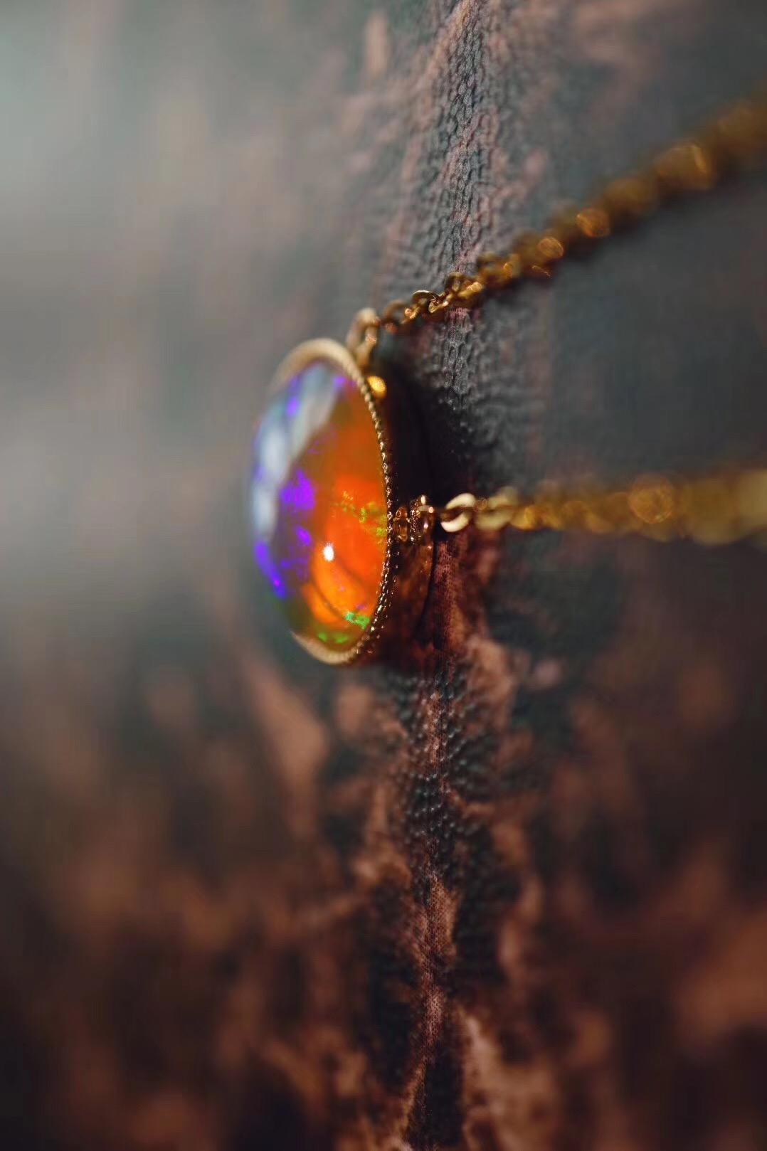 【菩心-欧泊石锁骨链】一枚灵气的吊坠,自带故事~~-菩心晶舍