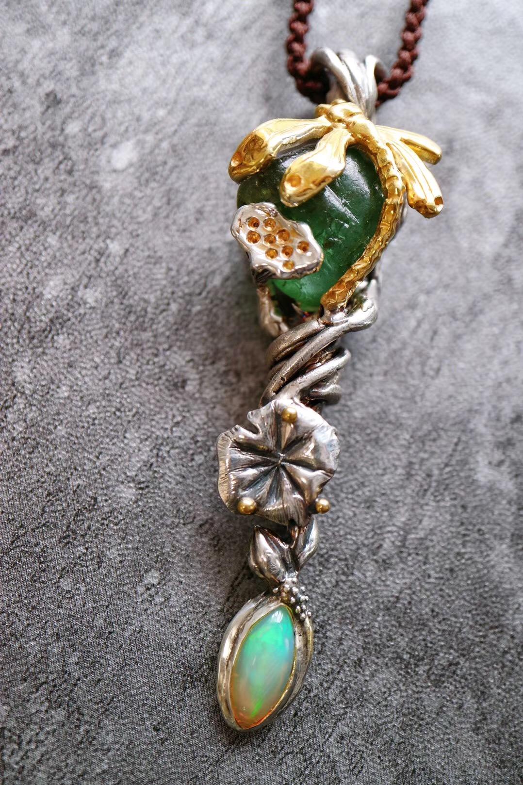 【菩心-碧玺原石设计】一枚代表勃勃生机的权杖,亦可作为吊坠-菩心晶舍