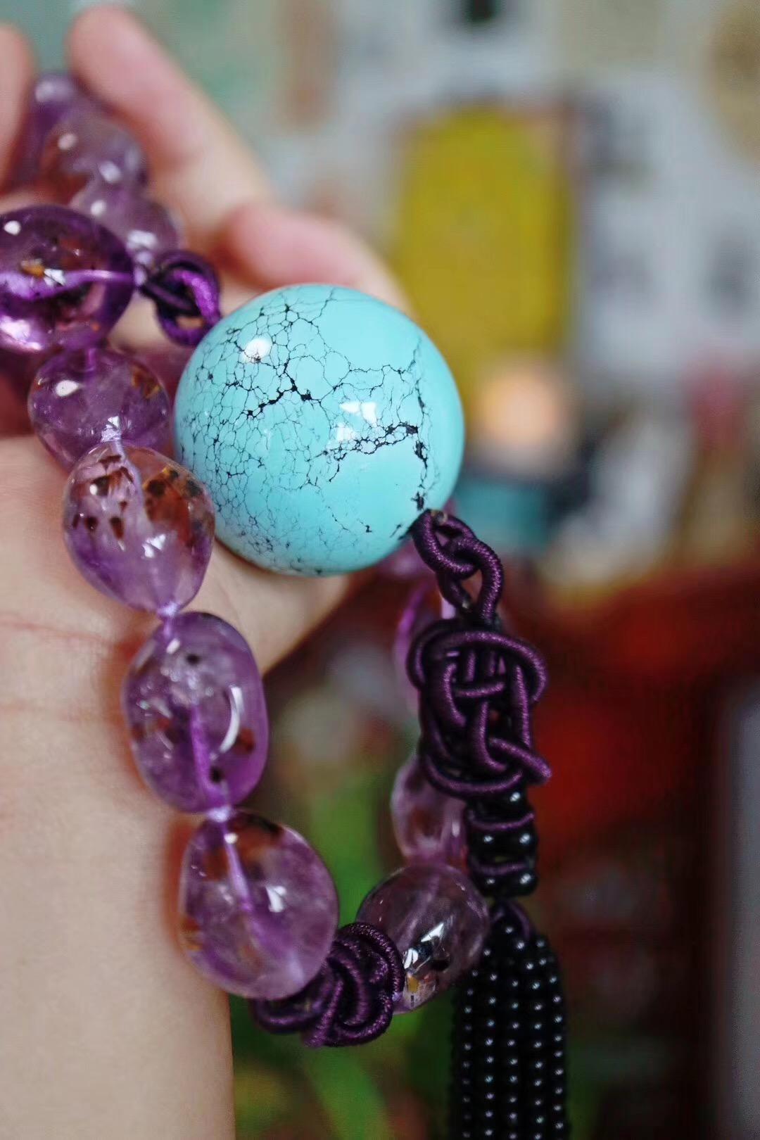 【菩心-紫钛晶、绿松石】重工设计紫钛晶、原矿绿松大珠珠手持,盘他。绝对高频!-菩心晶舍
