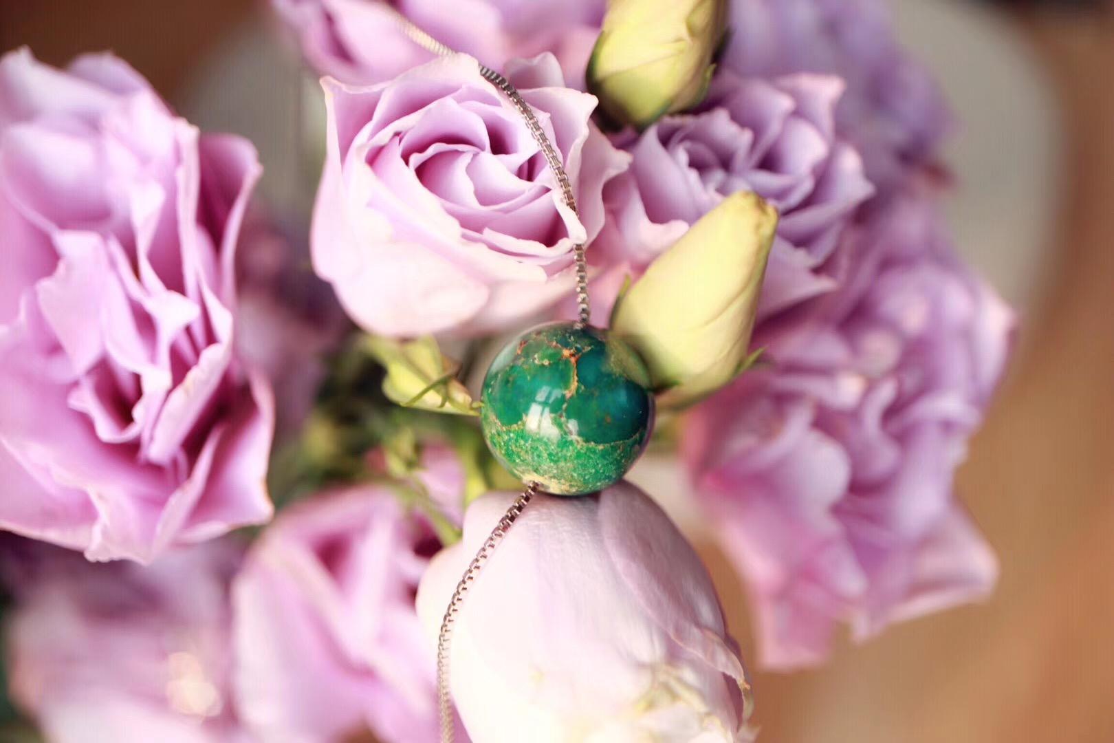 【菩心-绿松石】14mm原矿绿松石锁骨链-菩心晶舍