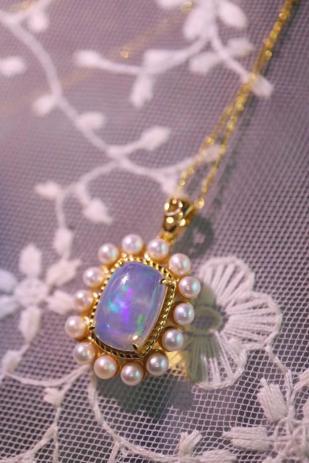【菩心-欧泊石】唯美的一组欧泊石定制,戒指和吊坠都非常梦幻-菩心晶舍