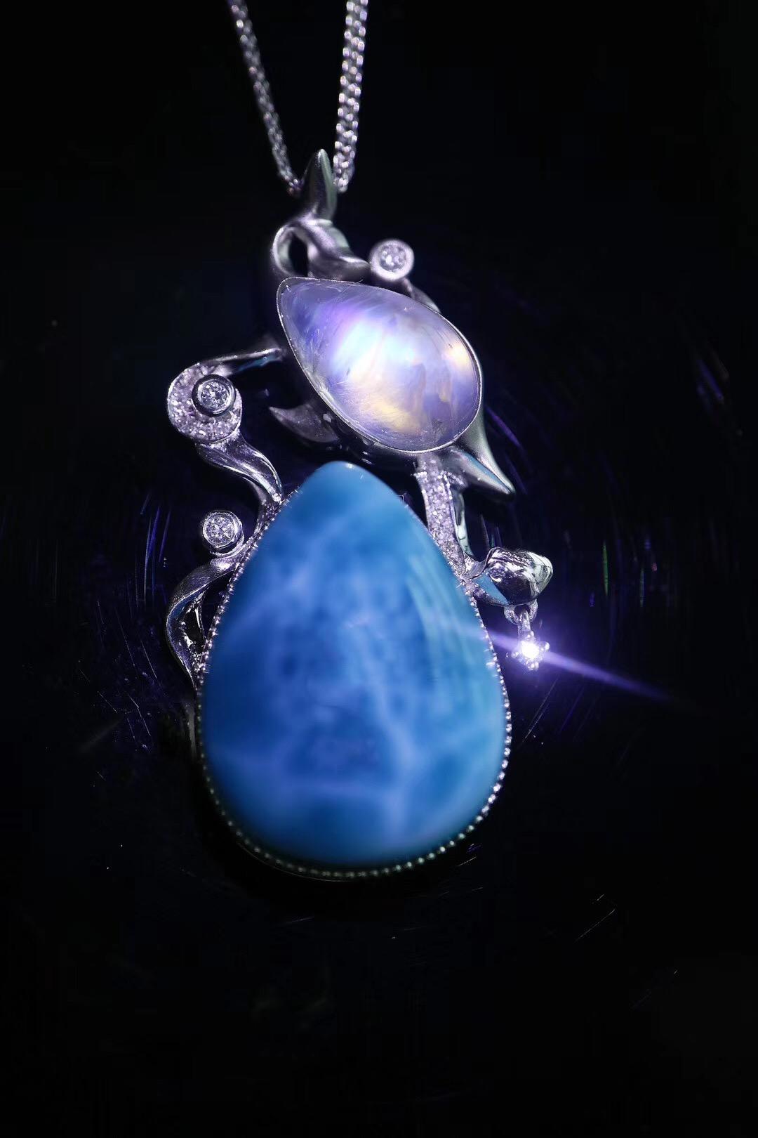 【菩心-海纹石、月光石】如此灵动的坠子,适合美人~-菩心晶舍