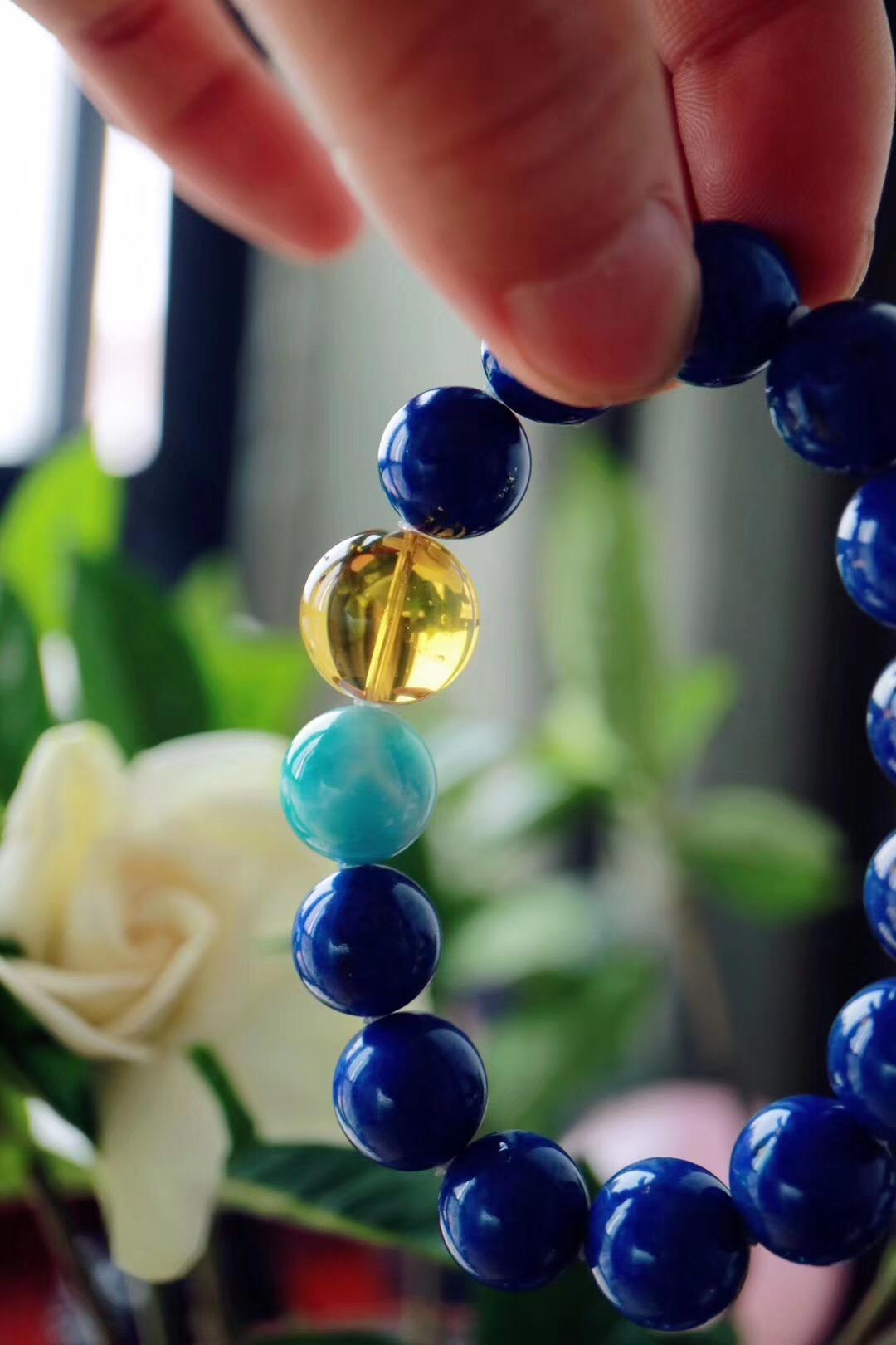【菩心老矿青金石 | 虫珀】夏日里有助于静心的一款设计-菩心晶舍
