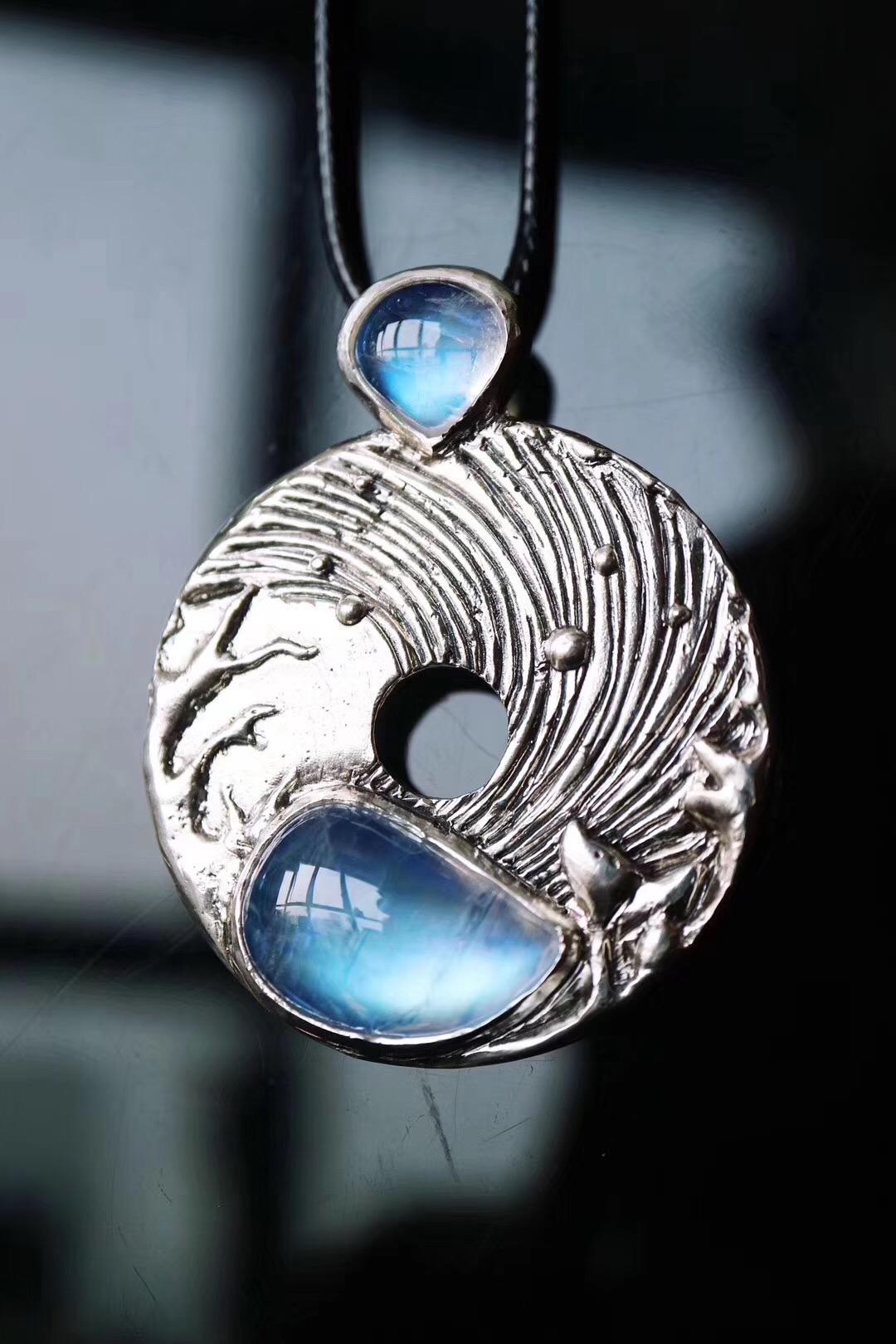 【菩心-月光石】妈咪给属马的宝宝定的一款月光石平安扣-菩心晶舍