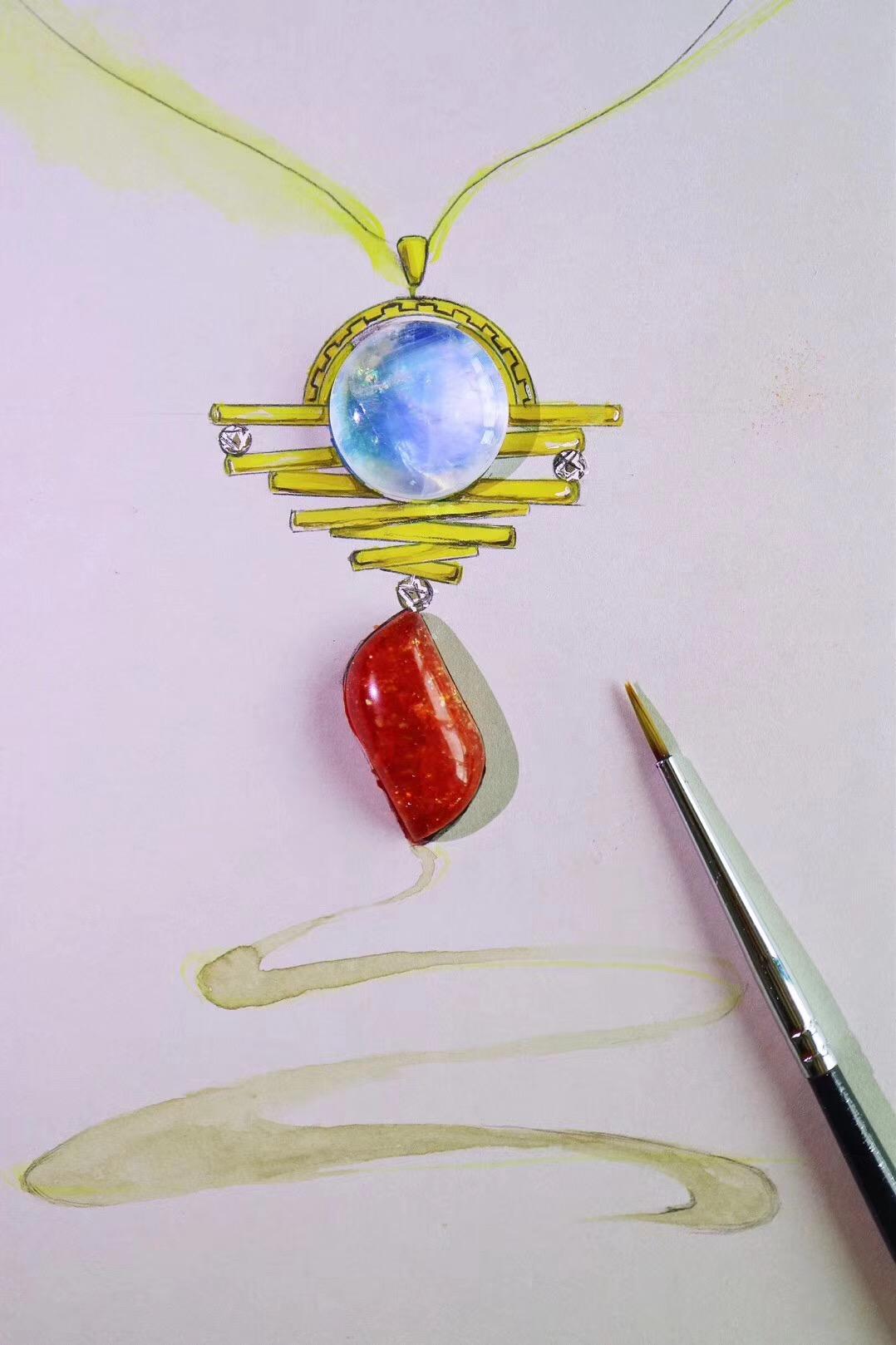 【菩心-太阳石、月光石】此刻,窗外日月同辉-菩心晶舍