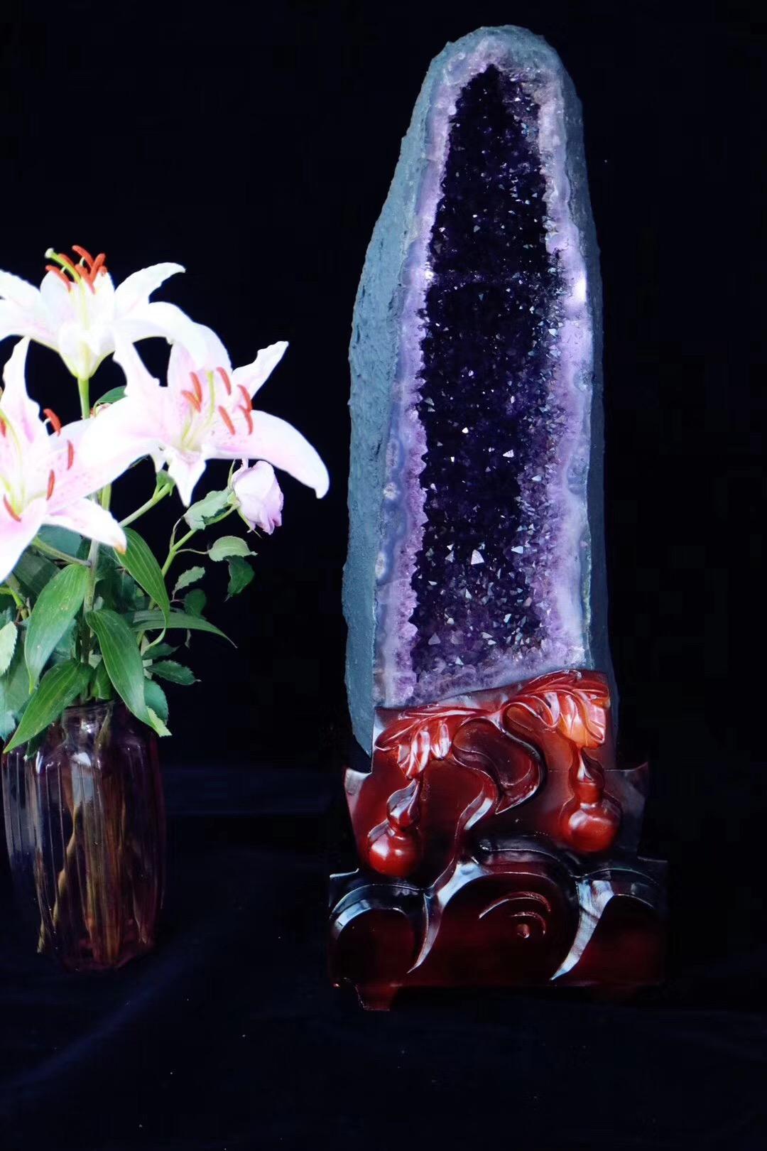 """【菩心-紫晶洞】经典""""木""""型紫晶洞-菩心晶舍"""