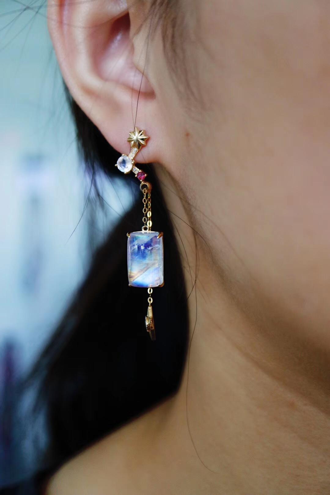 【经典星辰款-灵气&月光石】耳坠,长短可调节~-菩心晶舍