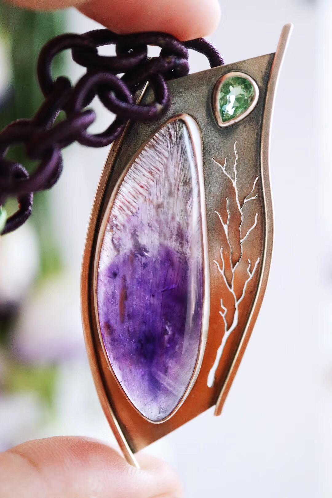 【紫发晶&碧玺】仿佛在紫发晶里看到了整个森林。-菩心晶舍