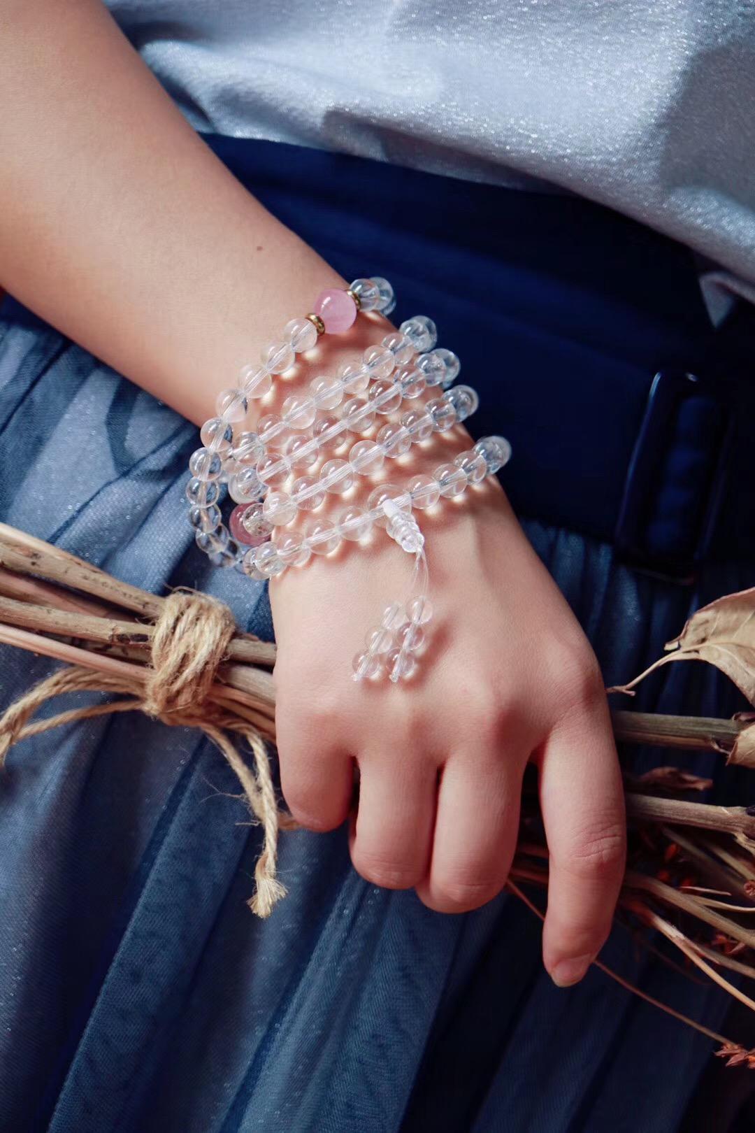 【白水晶佛珠】每次串佛珠,都能在内心得到一些释放-菩心晶舍