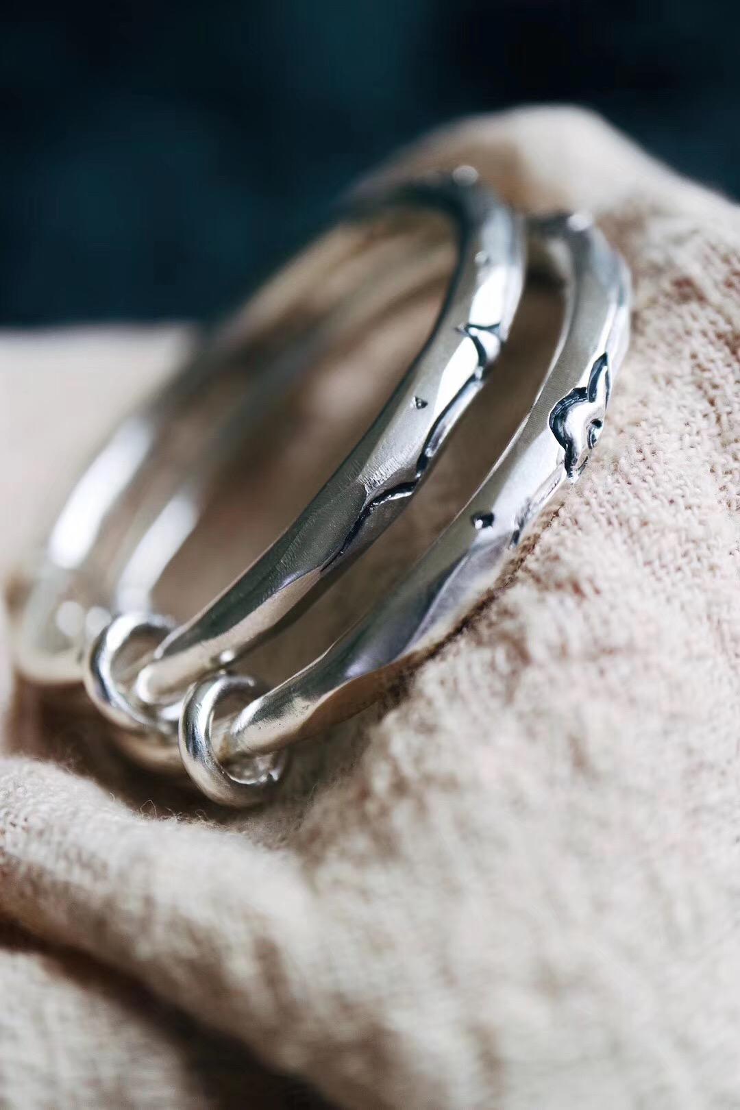 【日月星&爱♾】宝宝镯,菩心工匠纯手工打造一对小可爱银镯-菩心晶舍