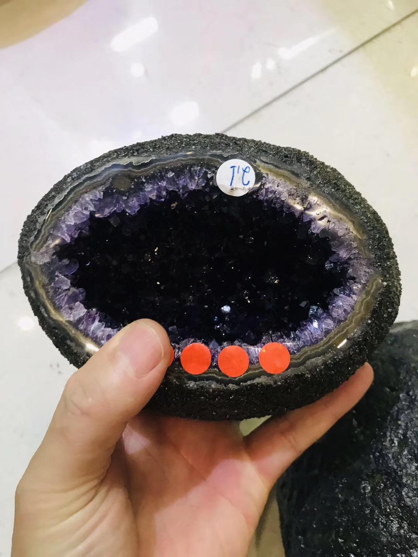 【乌拉圭紫晶洞】漂洋过海而来的极品乌拉圭紫晶洞钱袋子-菩心晶舍