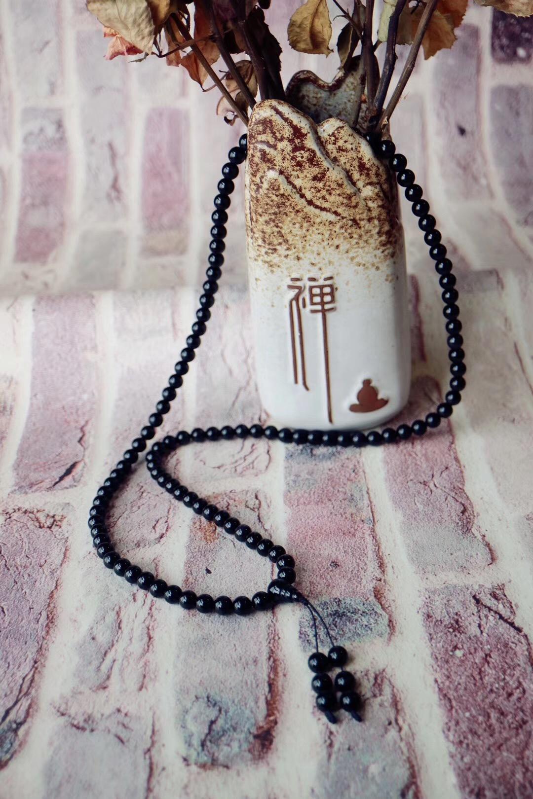 【黑曜石佛珠】黑曜石有助于带领心智穿越潜意识的黑暗地带-菩心晶舍