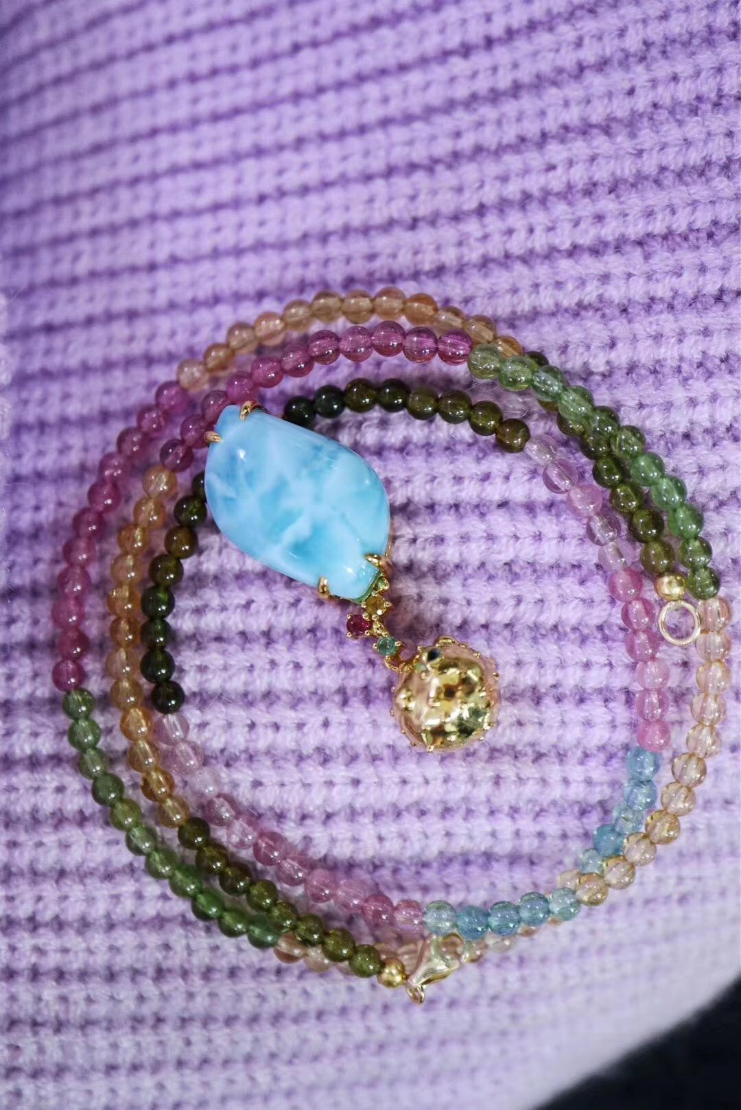 【海纹石、碧玺】彩虹天遇上了海🌊里的一只小河豚-菩心晶舍