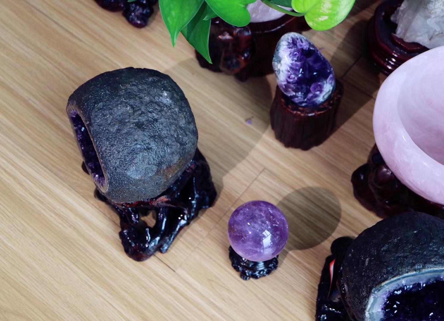 【紫晶洞】超可爱的小胖,乌拉圭顶级小洞-菩心晶舍
