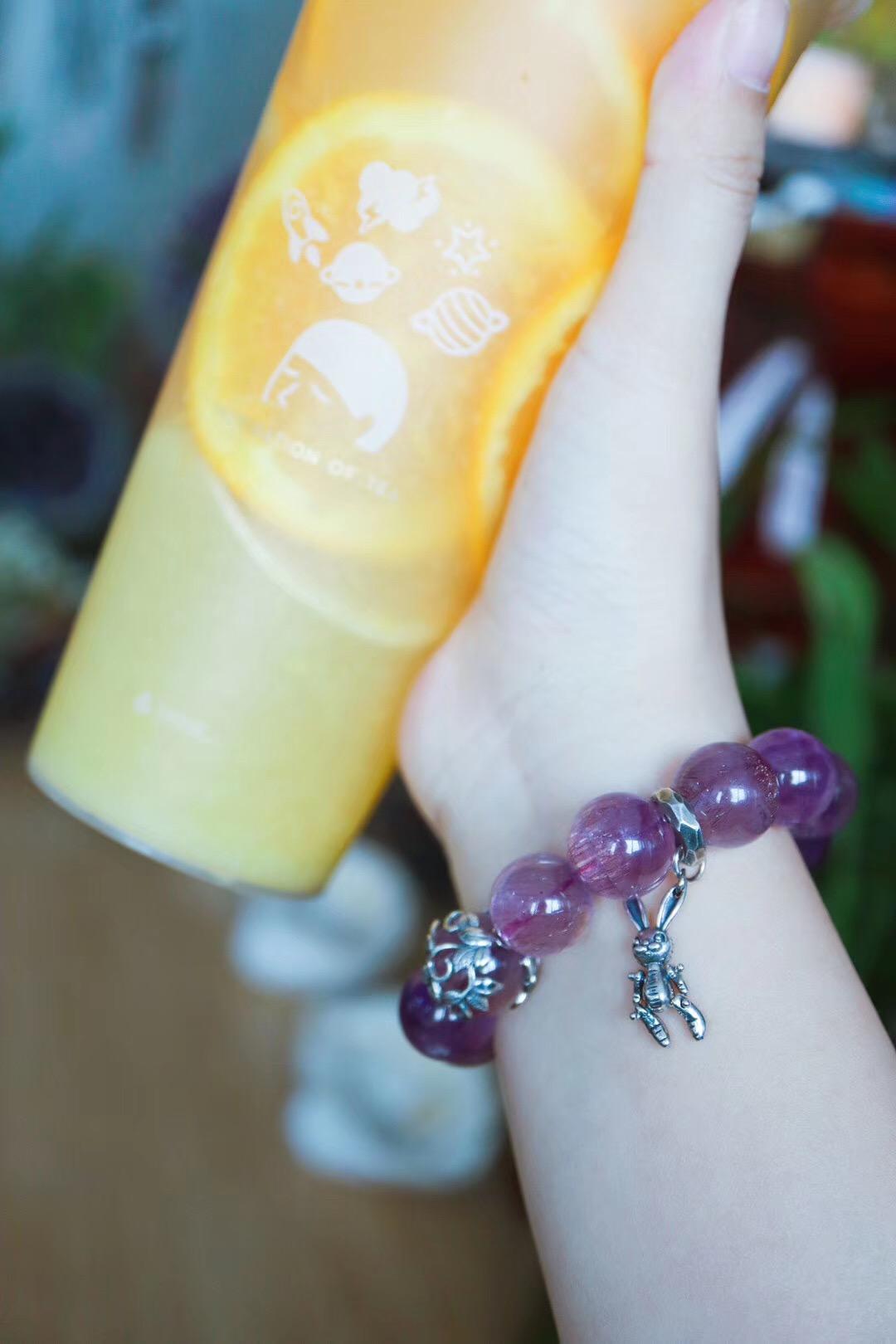 【紫发晶】这条紫发晶,满满的童趣。直径13.5mm-菩心晶舍