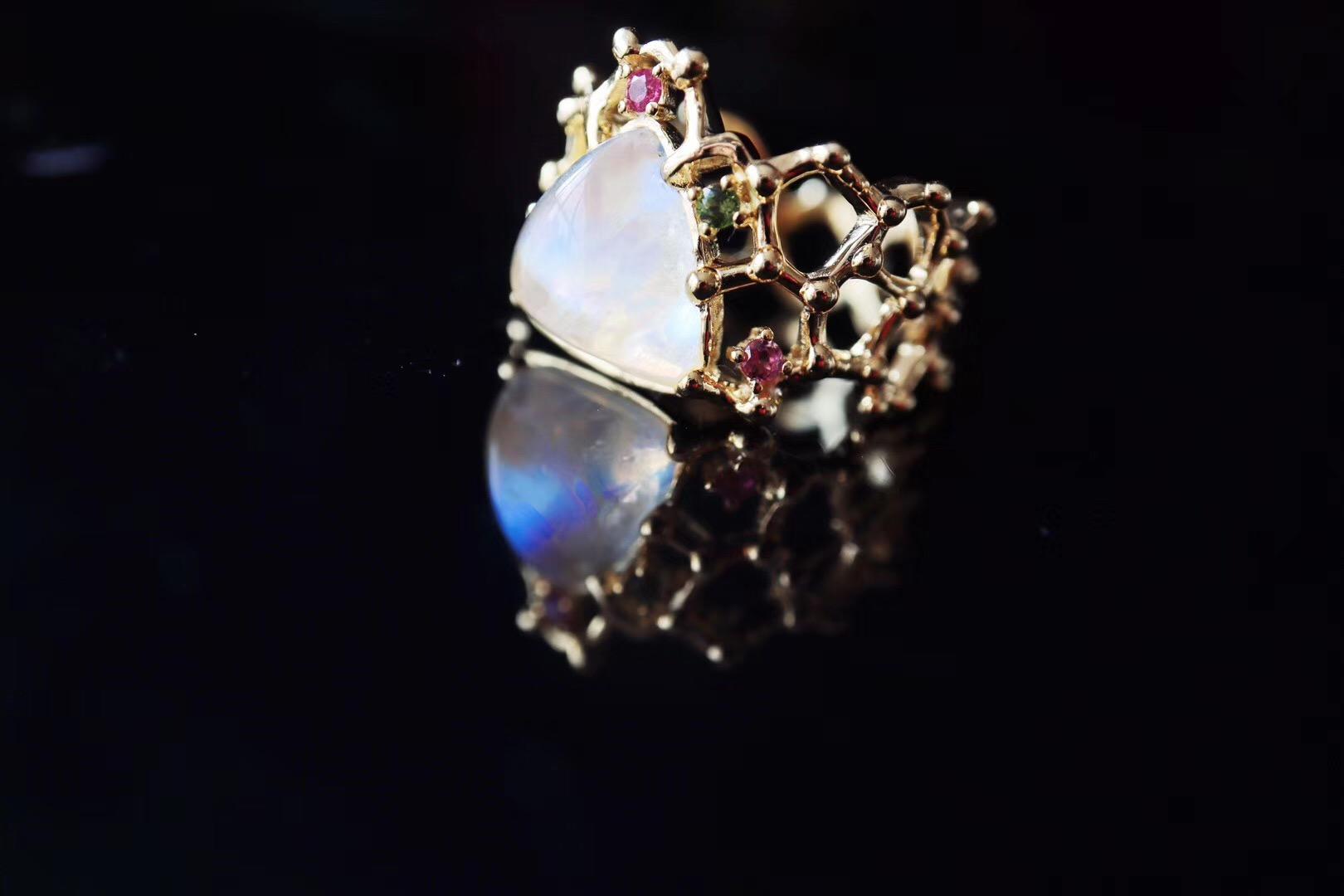 【月光石&碧玺】蜂巢月光皇冠~美到我心里了-菩心晶舍