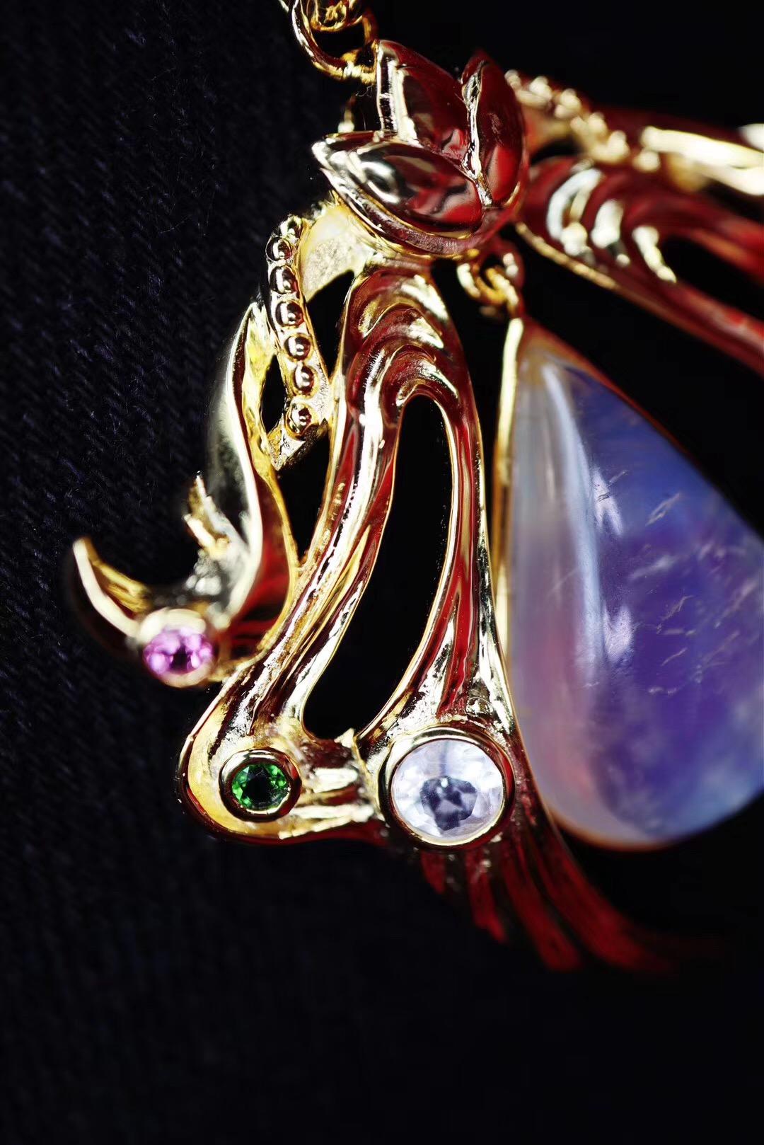 【月光石&毛衣链】带着天使之翼的月光石坠-菩心晶舍