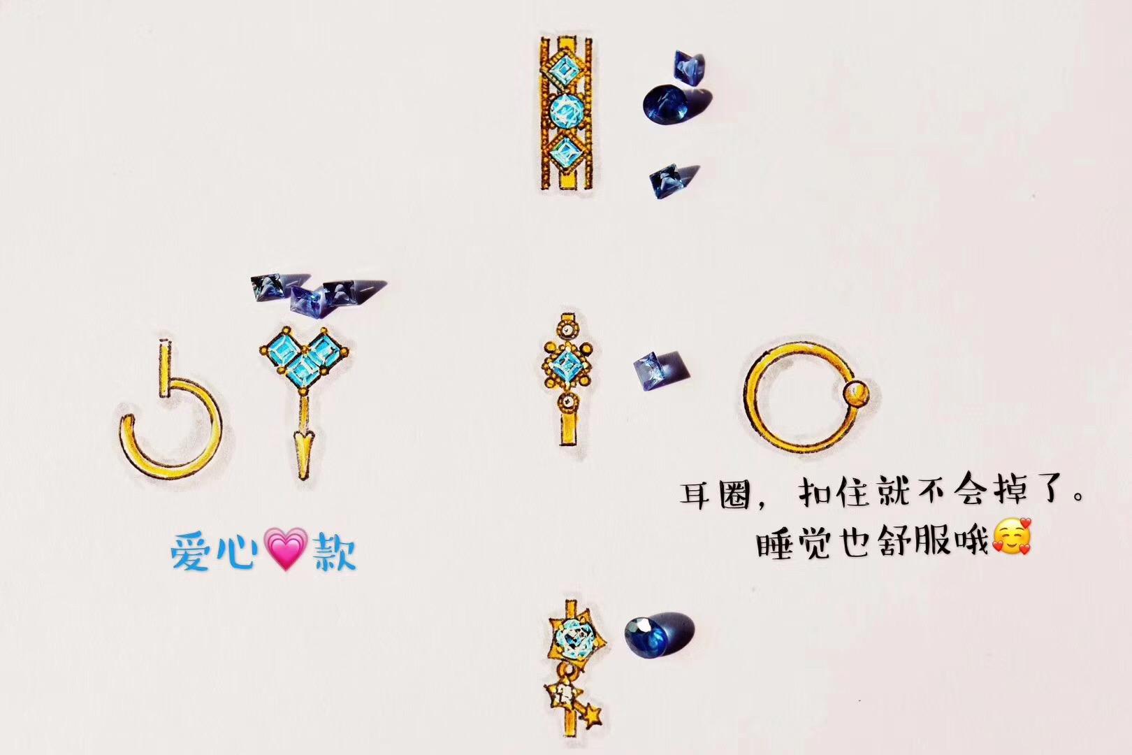 【蓝宝石&皇家蓝 无烧】蓝宝石耳圈,连睡觉都不用拿的舒适款-菩心晶舍