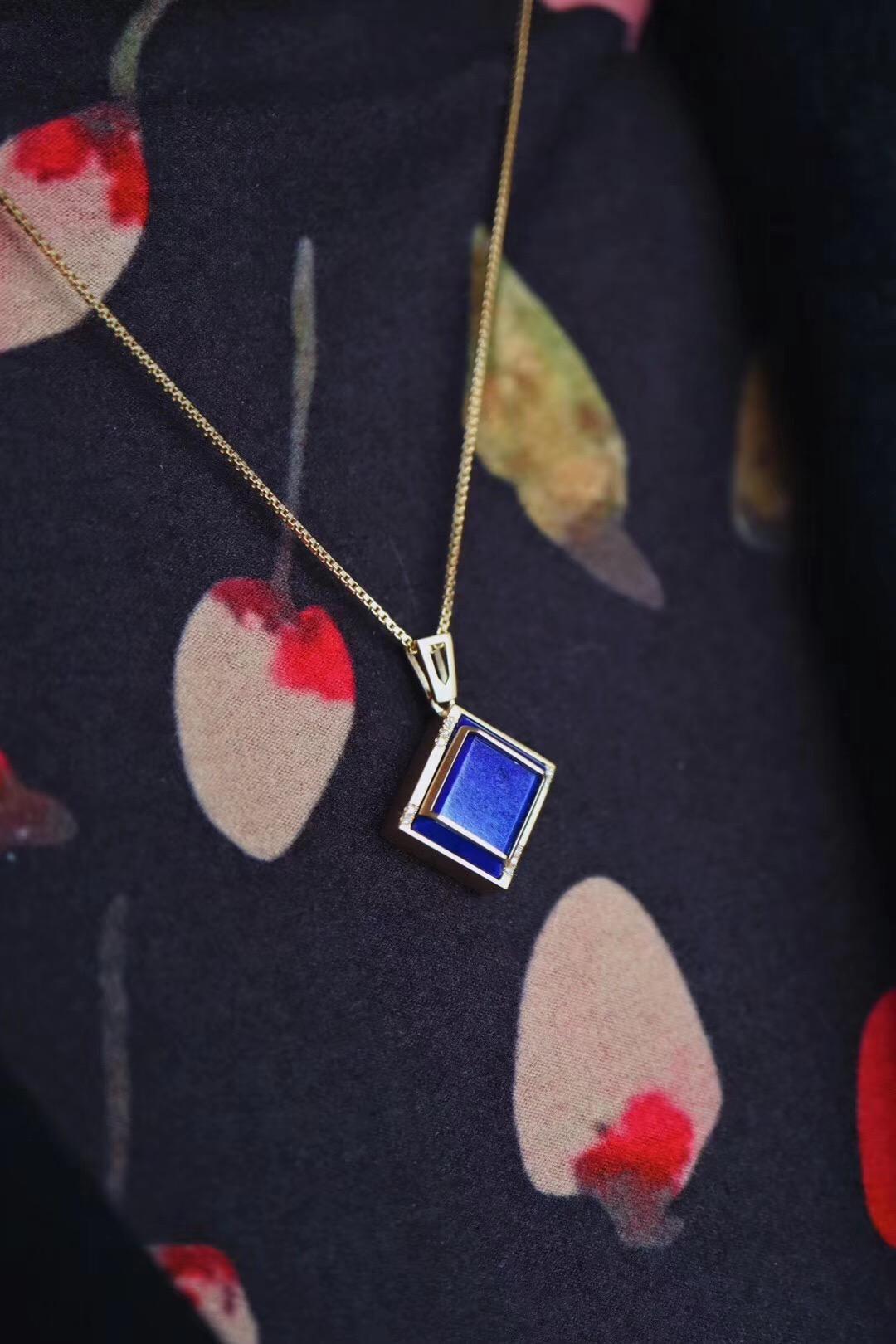 【帝王青&锁骨链】真实且温柔,是这枚青金石想要表达的-菩心晶舍