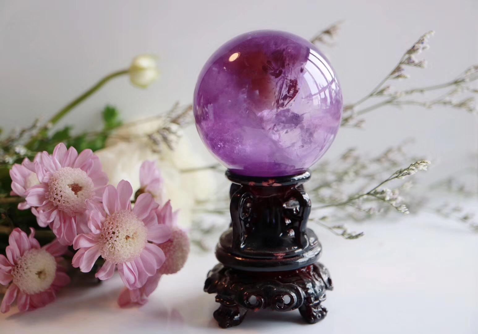 【紫晶球】有鲜花和灵石相伴的日子必然是简单而快乐-菩心晶舍