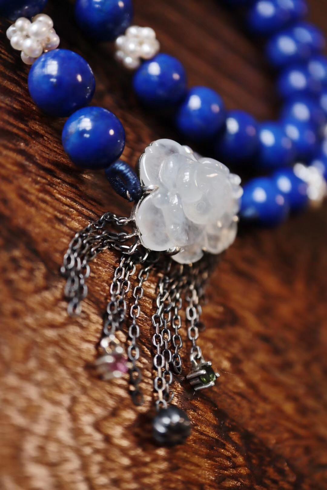 【青金石、翡翠】老矿青金的细腻,翡翠莲花的温柔-菩心晶舍