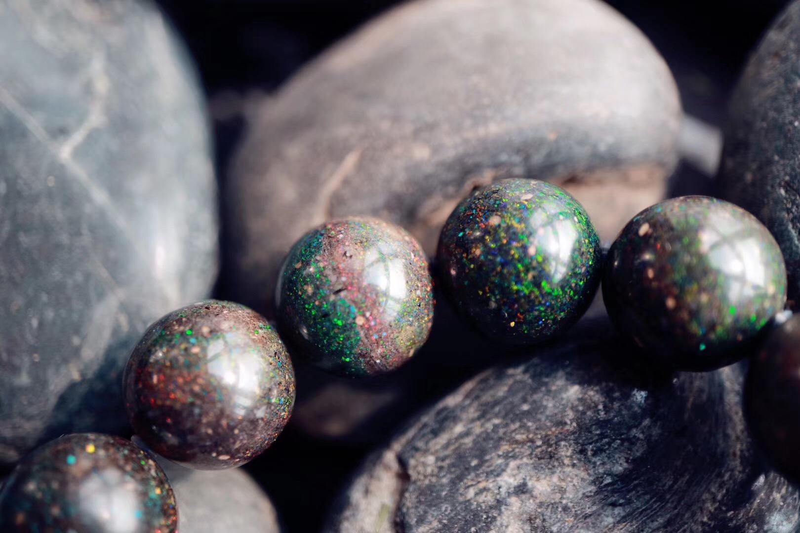 【极品欧泊13.5mm】色彩斑斓,浑然一体,美得目眩神迷-菩心晶舍