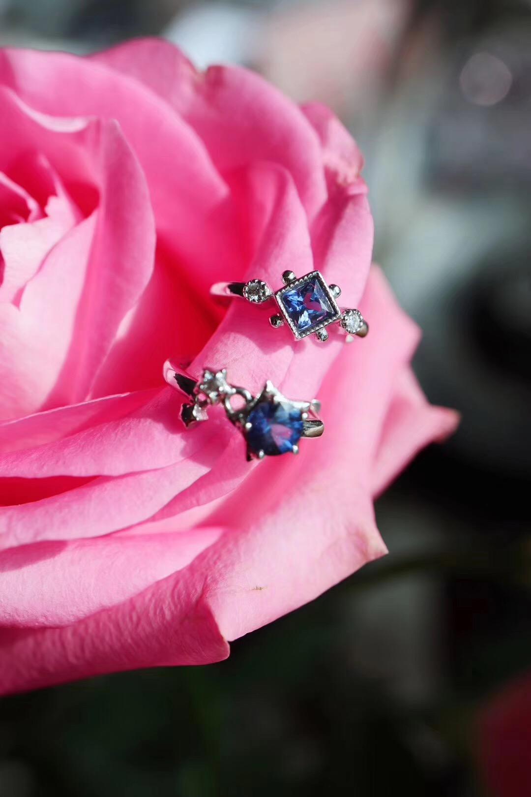 【菩心-蓝宝石&耳钉】即使是小清新的设计,也会显得贵气-菩心晶舍
