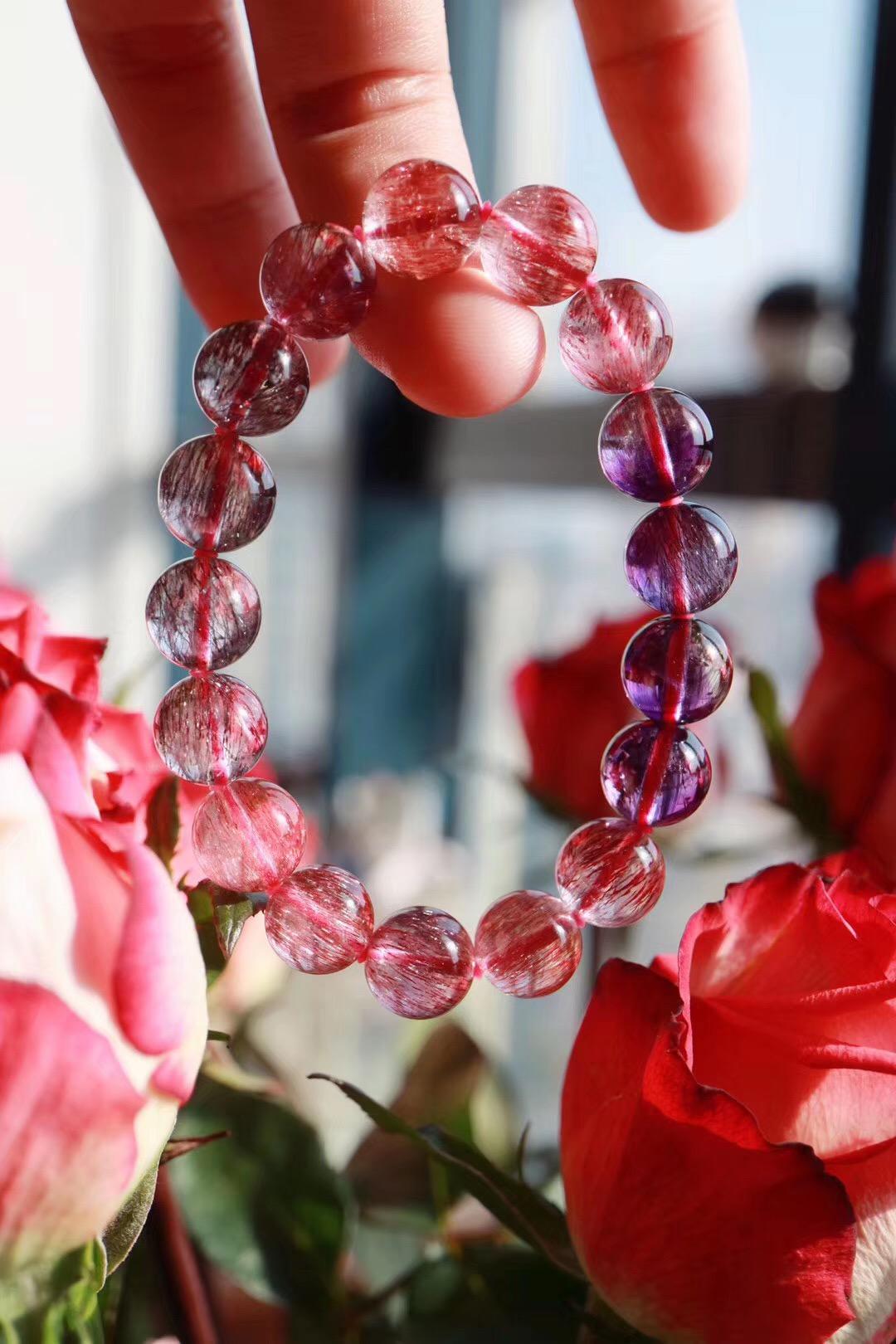 【超七紫发晶】年底压轴的极品紫发晶,纯正紫、红、黑三色-菩心晶舍