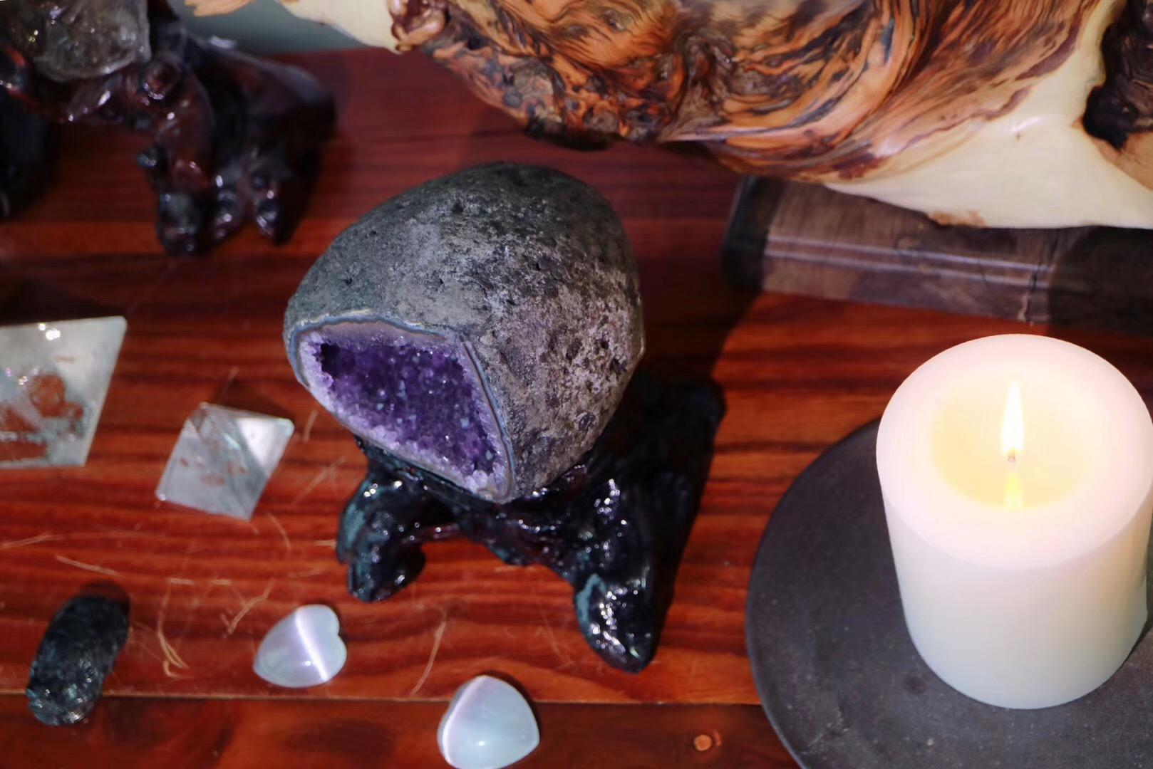 """【乌拉圭紫晶洞】一只嫩嫩的""""小寿桃"""",福运长寿-菩心晶舍"""