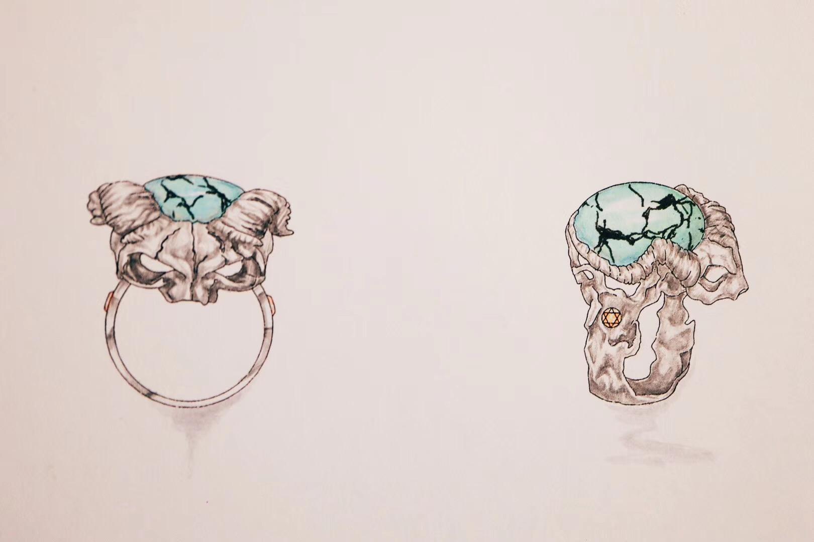 【绿松石】2枚酷戒指~ 辟邪&招财。-菩心晶舍