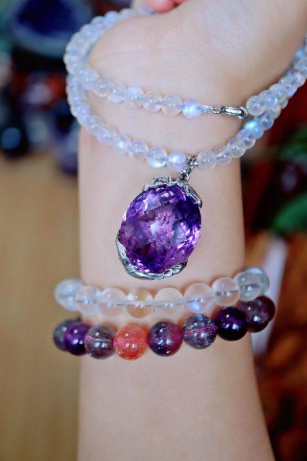栀子花紫水晶吊坠,花语是一生的守候-菩心晶舍