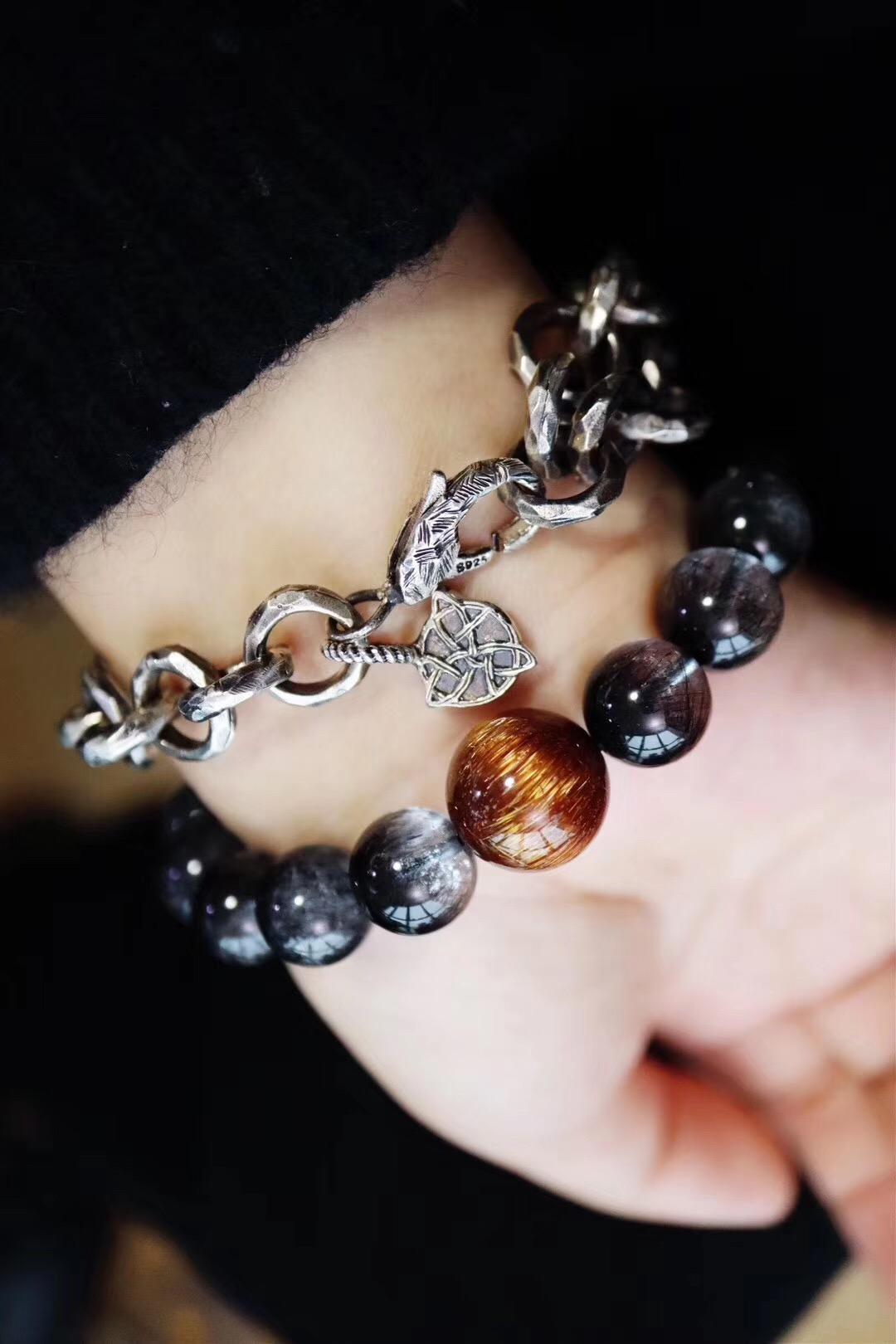 【如意宝珠阳光手链】材质:亚利桑那如意宝珠、利比亚黄金陨石-菩心晶舍