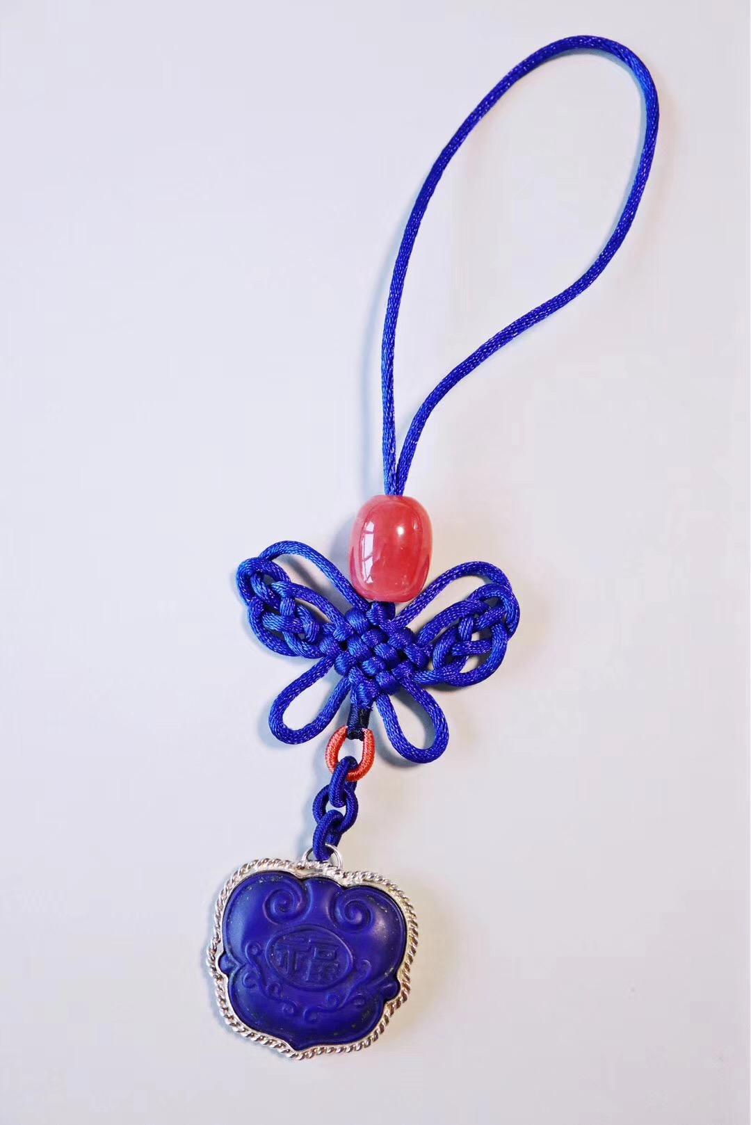 【青金石如意锁&红纹石】给女儿入了个新包,你给配个包挂吧-菩心晶舍