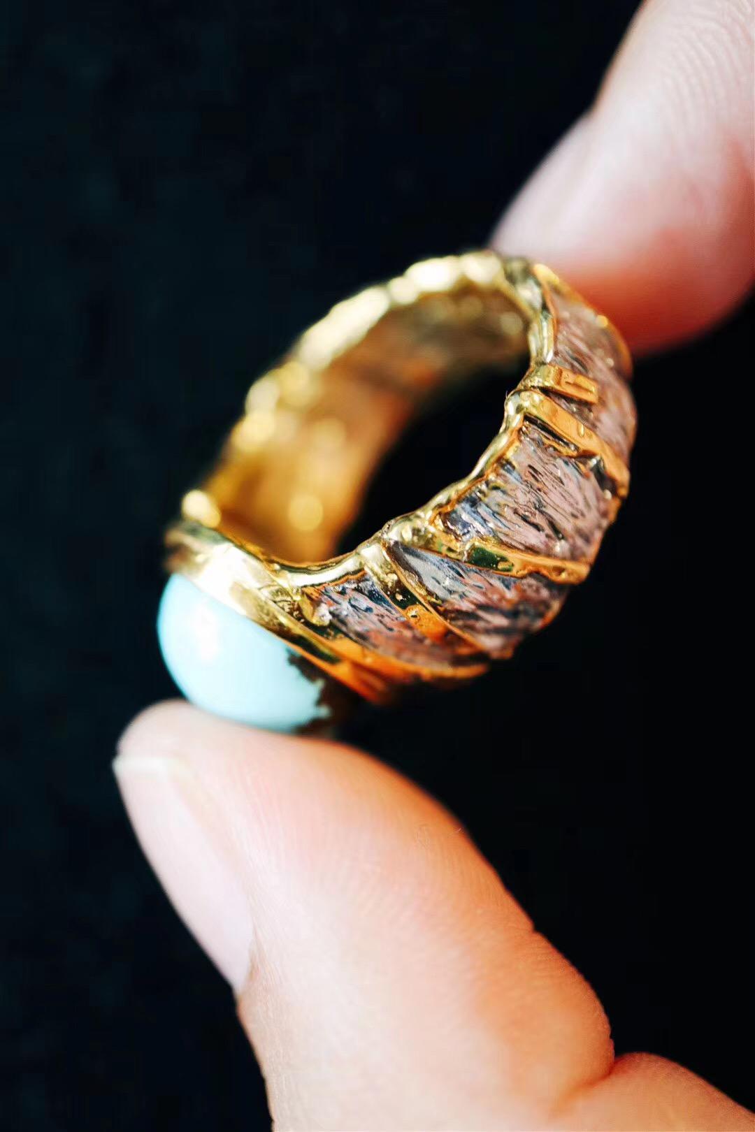 【绿松石】绿松原矿戒的镶嵌,灵感便来自锡纸-菩心晶舍