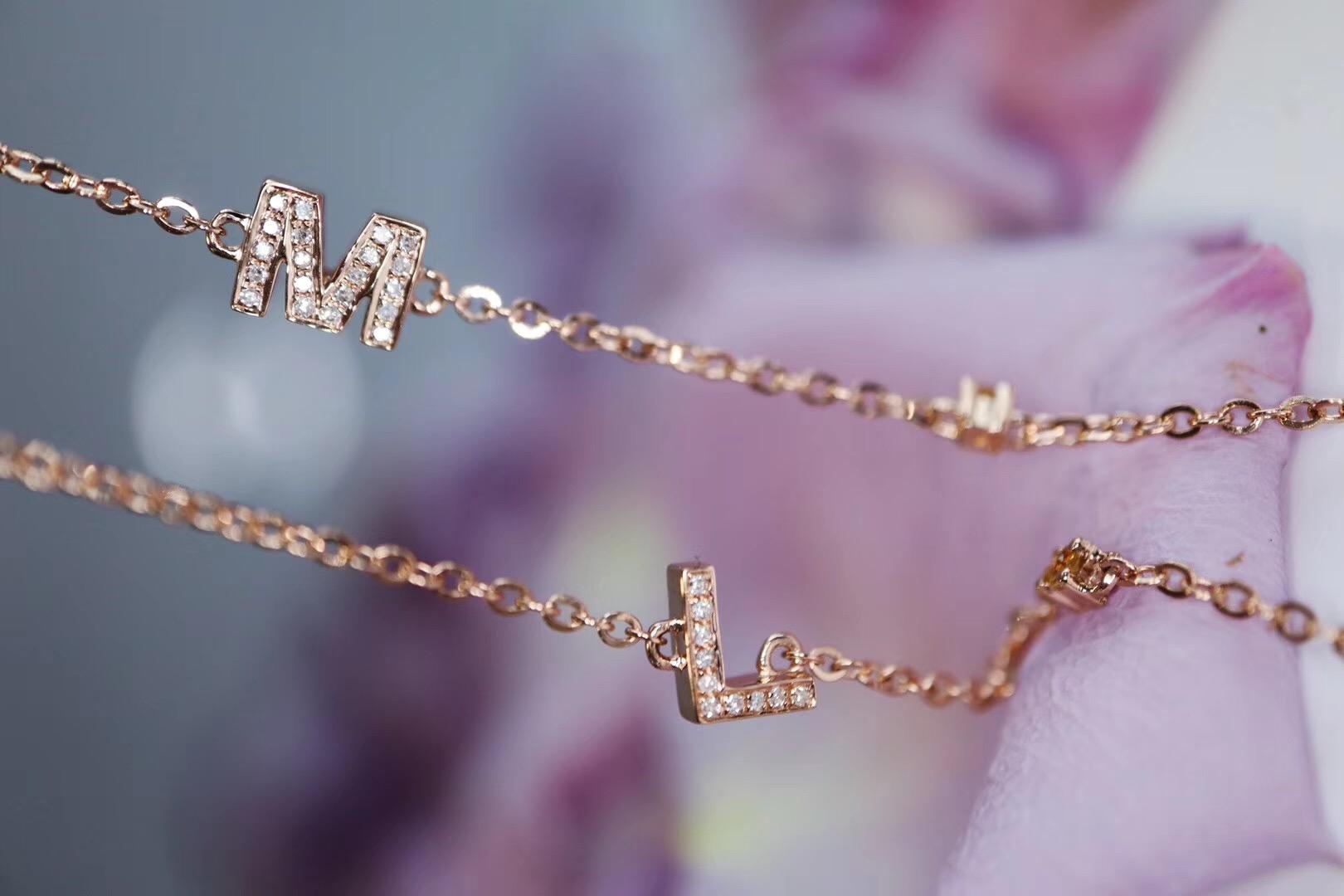【18k金字母链&碧玺颜色可选】真是每个小仙女必备-菩心晶舍
