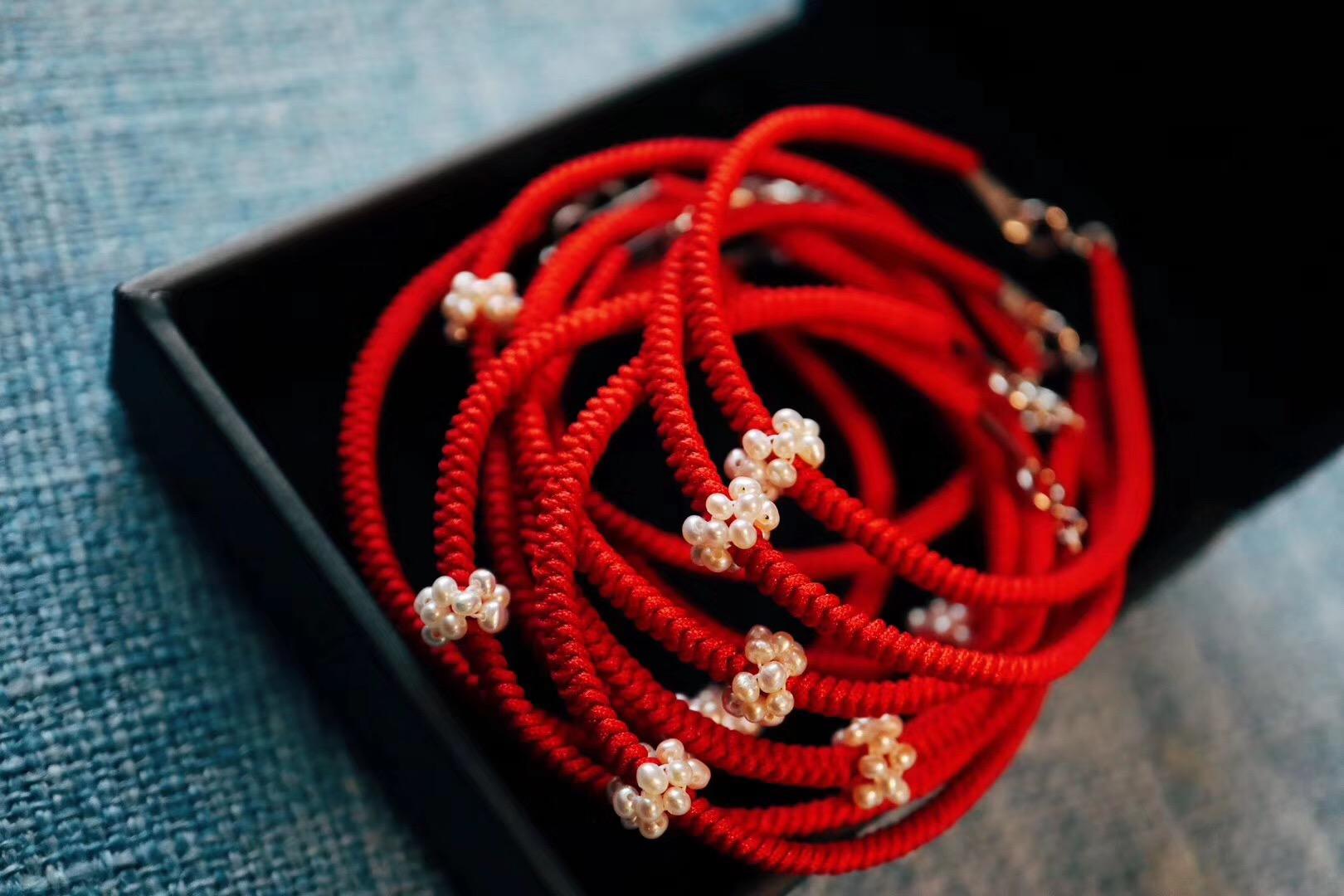 今年菩心的红绳,配了小珍珠-菩心晶舍
