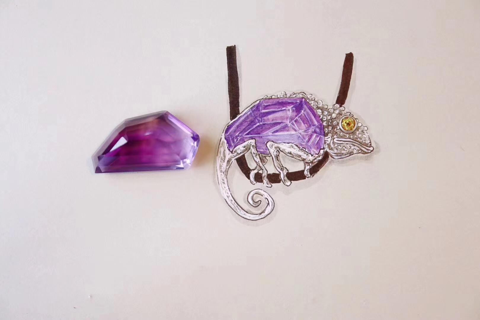 【紫晶】当胸针,甚好。-菩心晶舍