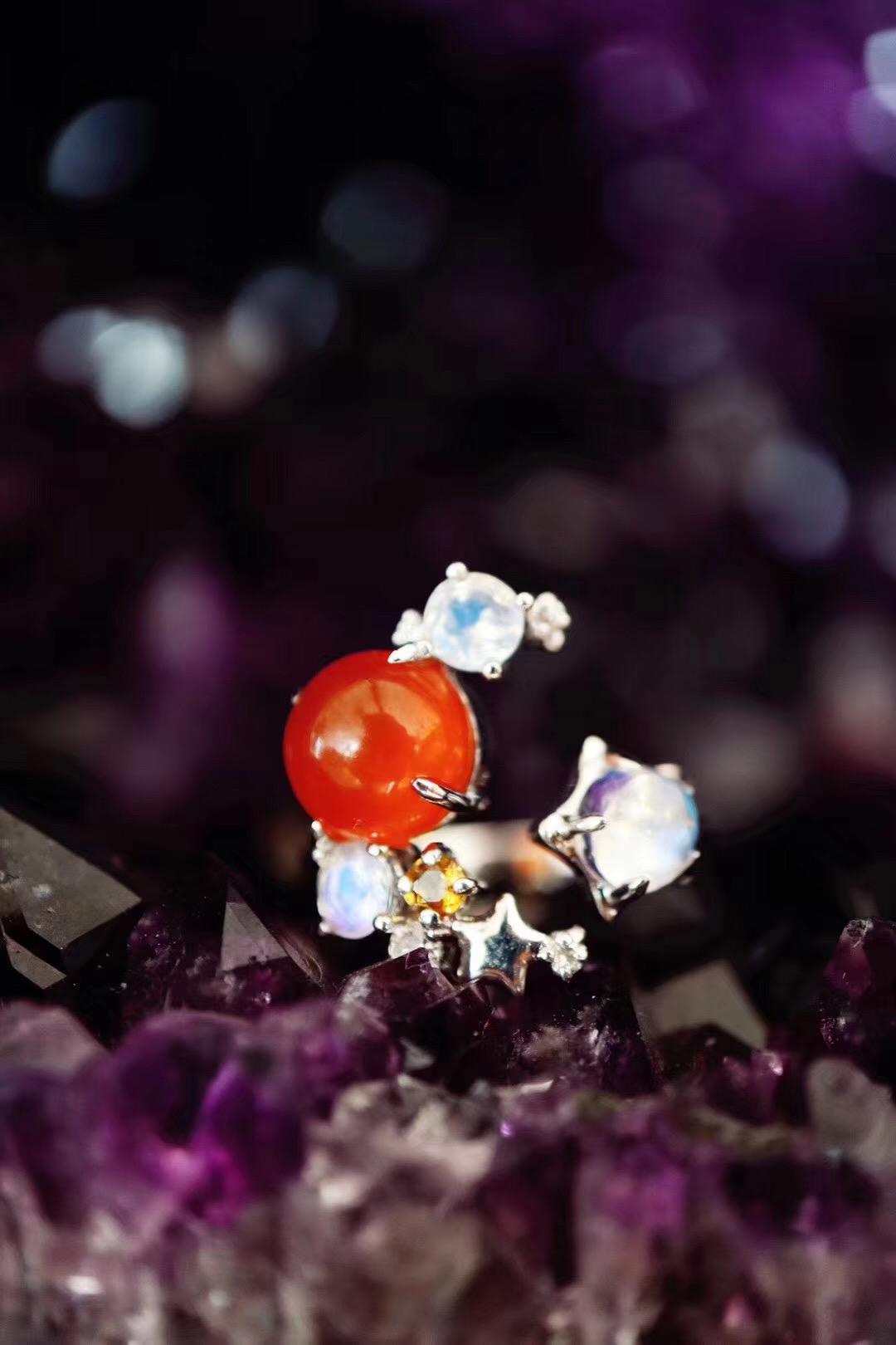 【月光石、南红玛瑙】小清新戒指一枚~ 日月同辉^_^-菩心晶舍