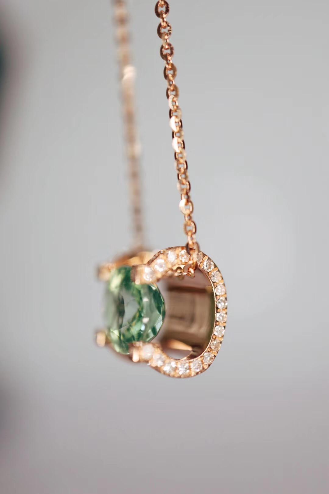 【碧玺】360度都表现很完美的绿碧玺锁骨链-菩心晶舍