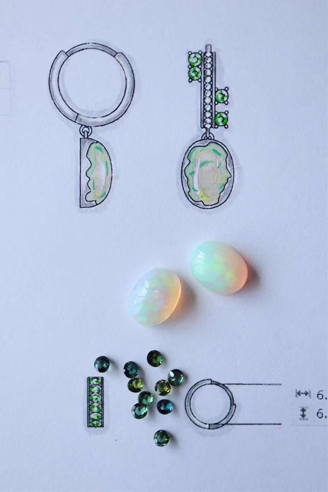 用绿碧玺和欧泊石定个耳环-菩心晶舍