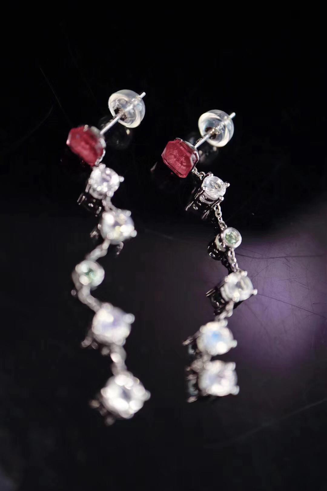 【月光石、碧玺】瘦脸神器月光石唯美耳环,长度刚刚好-菩心晶舍