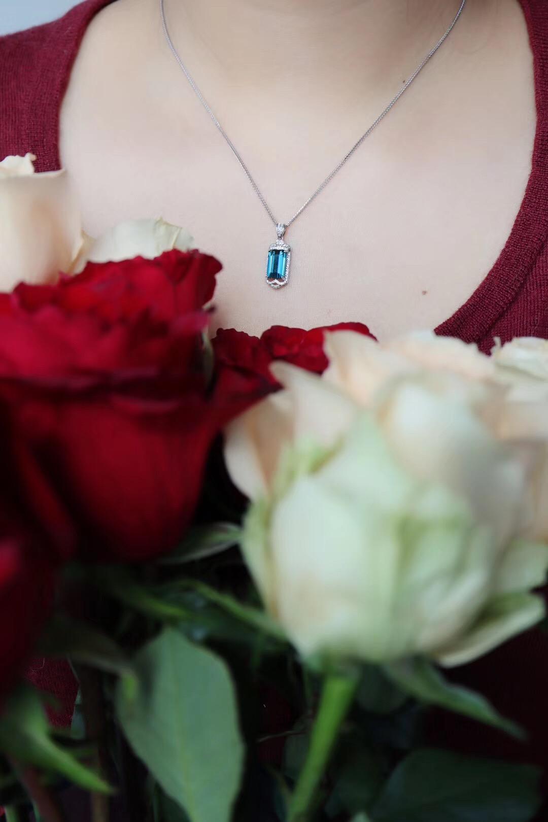 【蓝碧玺】纯净晶体,完美切割,钻石满镶-菩心晶舍