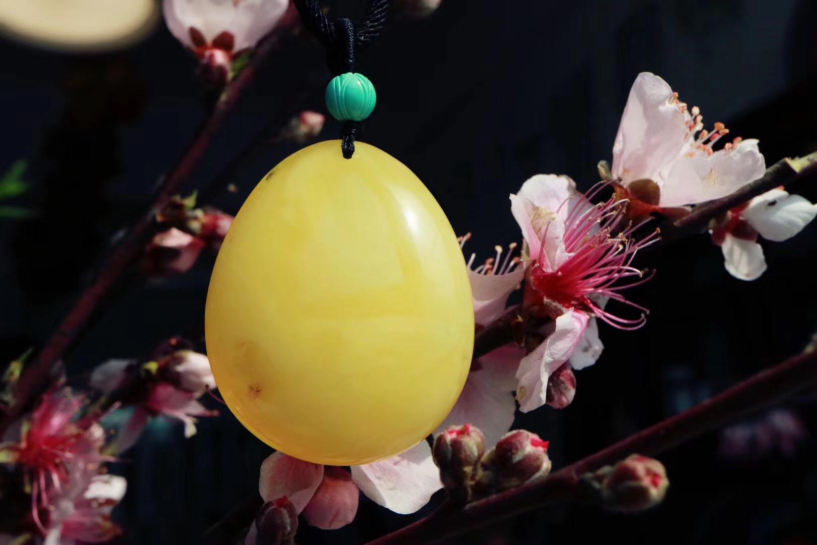 【蜜蜡】水滴蜜蜡,配一颗绿松石莲花珠-菩心晶舍