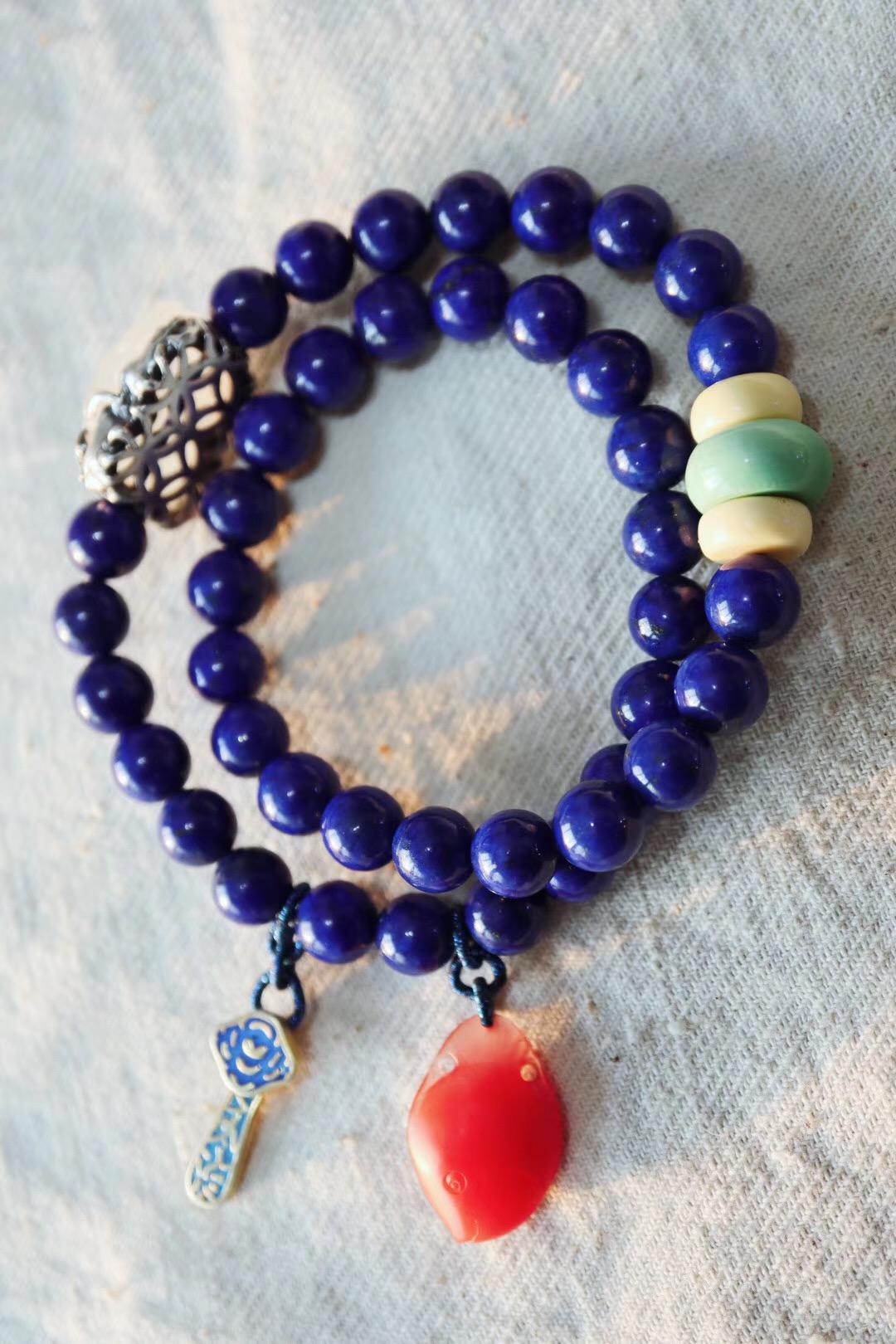 【青金石】奉上同样美好的一款帝王青手链,青金石里最好的品质-菩心晶舍