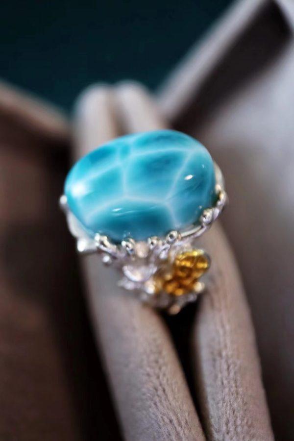 一枚极品海纹石戒指,海浪主题契合海纹石-菩心晶舍