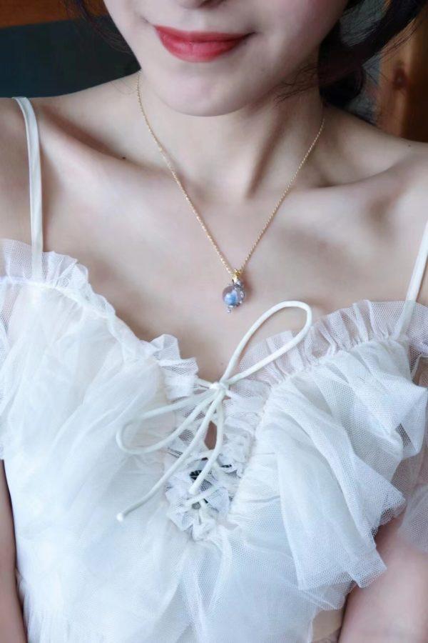 一颗极品蓝发晶珠珠, 配上仙仙九尾狐,美人来收-菩心晶舍