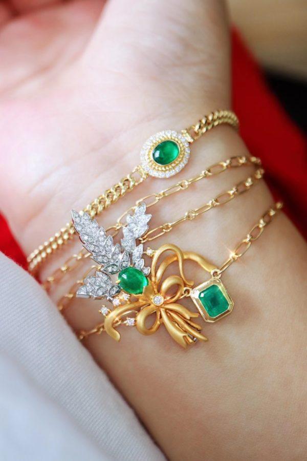 一枚麦穗🌾祖母绿胸针,可以搭配任何日常穿搭-菩心晶舍